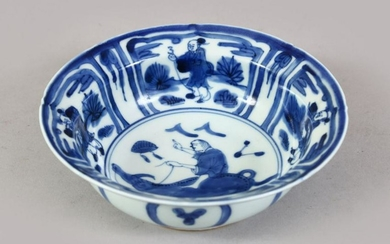 A CHINESE MING STYLE KRAAK PORCELAIN BOWL, the bowl