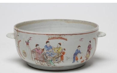 A CHINESE PORCELAIN TUREEN of plain circular form with two l...
