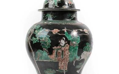 A Chinese Porcelain Baluster Jar and Cover, 19th century, painted...
