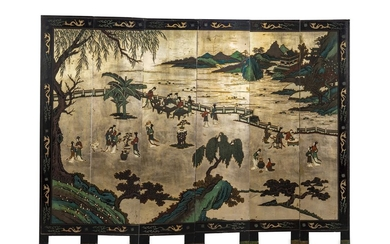 A Chinese Six Panel Floor Screen