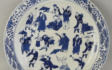 A Chinese blue and white plate, Kangxi (1662-1722) mark...