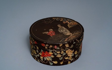 A Chinese carved and inlaid coromandel lacquer box,...
