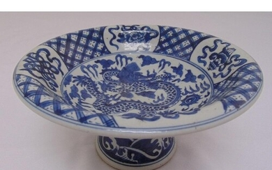 A Chinese early 20th century blue and white fruit bowl on ra...