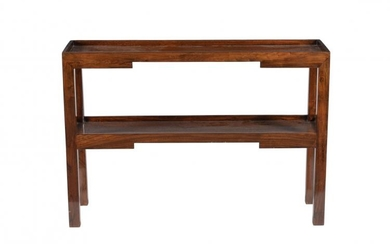 A Chinese hardwood, probably elm, two tier side table