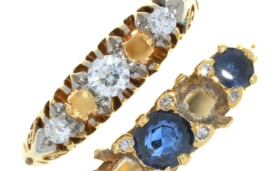 A DIAMOND RING IN GOLD MARKED 18CT AND A SAPPHIRE RING IN 18...