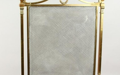 A FRENCH BRASS FIRE SCREEN with mesh front, on curving