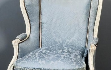 A French Off-White Painted Carved Beechwood Wingback Easy Chair...