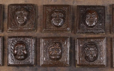 A Group of Ten Late 16th/Early 17th Century Small Relief Carved Oak Panels; each centred by a comica
