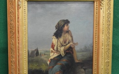 A Hollub, 19th century oil on canvas of a young Gypsy girl s...