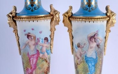 A LARGE PAIR OF ORMOLU MOUNTED SEVRES VASES. 54 cm