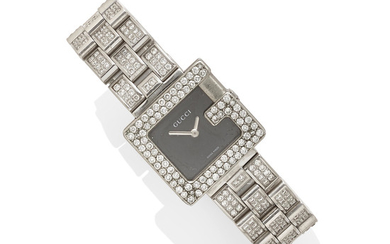 A Lady's diamond and stainless steel wristwatch,