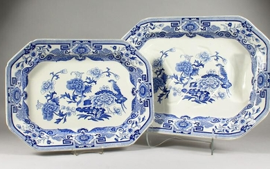 "A MASON'S BLUE AND WHITE ""TREE AND WELL"" MEAT DISH, and"
