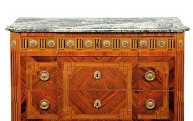 A NORTH ITALIAN REPOUSEE GILT-METAL-MOUNTED STAINED FRUITWOOD AND EBONY-INLAID TULIPWOOD AND KINGWOOD COMMODE, ATTRIBUTED TO GIUSEPPE VIGLIONE, TURIN, LATE 18TH CENTURY