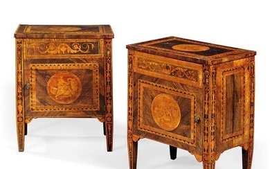 A PAIR OF NORTH ITALIAN ROSEWOOD, TULIPWOOD, WALNUT, FRUITWOOD, AMARANTH AND MARQUETRY COMODINI, LATE 18TH CENTURY, IN THE MANNER OF GIUSEPPE MAGGIOLINI, ONE ADAPTED