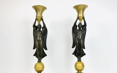 A Pair Of Empire Ormolu And Patinated Bronze Candelabra