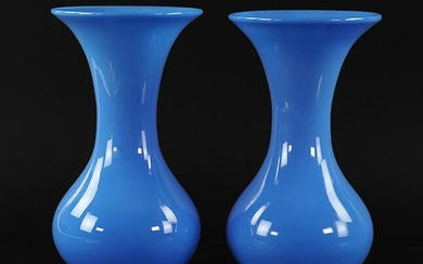 A Pair of Blue Opaline Vases.