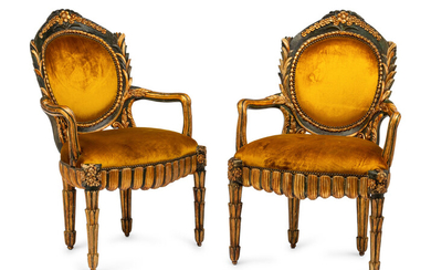 A Pair of Italian Grotto Style Painted and Parcel Gilt Armchairs