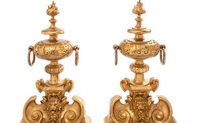 A Pair of Neoclassical Cast Bronze Chenets