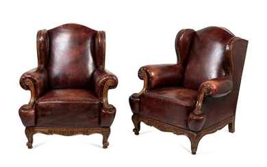 A Pair of Rococo Revival Leather-Upholstered Wingback