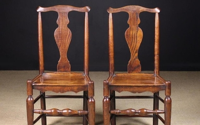 A Pair of Small Joined Elm Side Chairs, Circa 1790. The swept top rails above vase shaped back splat