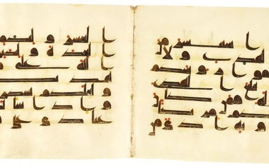 A QUR'AN BIFOLIUM IN KUFIC SCRIPT ON VELLUM, NORTH AFRICA OR NEAR EAST, 9TH CENTURY AD
