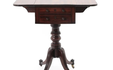 A Regency Mahogany and Marquetry Inlaid Dropleaf Table, early 19th...