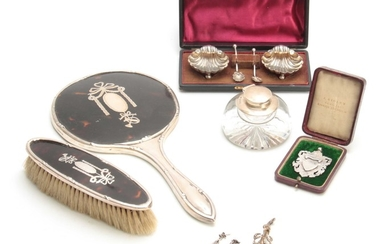 A SELECTION OF SILVER ITEMS INCLUDING a Dressing table Mirro...