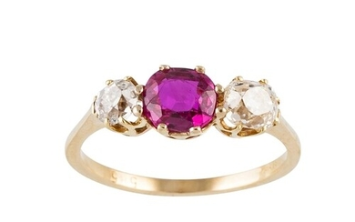 A SYNTHETIC RUBY AND DIAMOND THREE STONE RING, circular ruby...