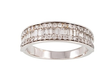 A THREE ROWED DIAMOND HALF ETERNITY RING, set with brilliant...