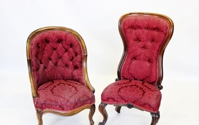 A Victorian walnut framed low seat chair, the high button ba...