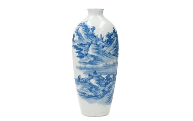 (-), A blue and white porcelain Meiping vase,...