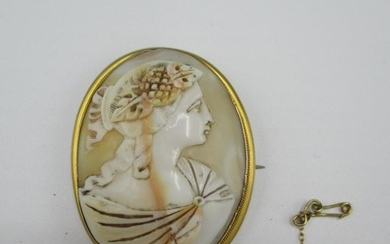 A cameo brooch set in yellow coloured metal frame Location: ...