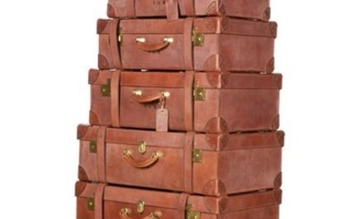 A collection of English leather luggage, Pickett