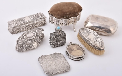 A collection of silver and silver mounted items