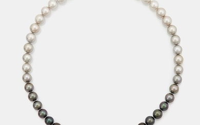 A cultured Tahitian and South Sea pearl necklace with a detachable cultured Tahitian pearl pendant