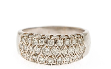 A diamond ring set with numerous brilliant-cut diamonds, mounted in 18k white gold. Size 60.5.