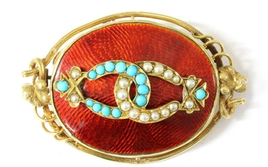 A gold turquoise, split pearl and enamel brooch