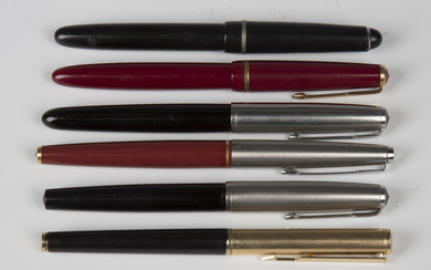 A group of six fountain pens, comprising five Parker pens and an Osmiroid 65, together with two earl