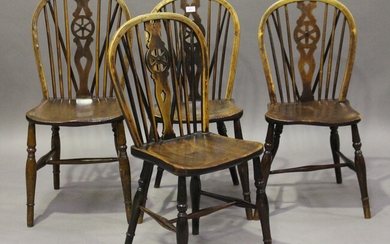 A harlequin set of four early Victorian ash and elm stick and wheel back Windsor dining chairs, heig