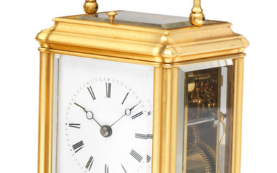 A late 19th century French gilt-brass gorge cased petite sonnerie bell-striking and repeating carriage clock