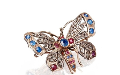 A late 19th century multi-gem set butterfly brooch