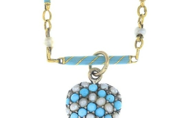 A late 19th century silver and gold turquoise and split