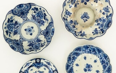 A lot with (2) Delft blue-and-white bowls together with a charger and a plate. marked: Porceleyne Fles, Delft. The Netherlands, 20th century.