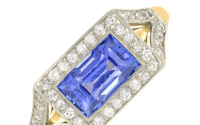 A mid 20th century 14ct gold and platinum, sapphire and circular-cut diamond dress ring.