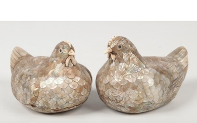 A pair of 19th century Chinese mother of pearl and ivory hen...