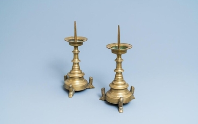 A pair of Flemish or Dutch bronze candlesticks, 16th C.