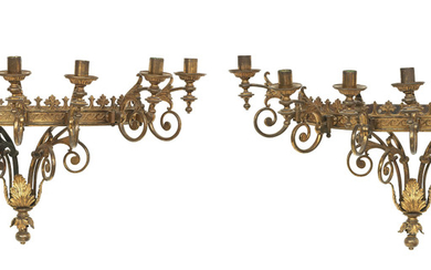 A pair of Italian gilt metal wall mounted candelabra, early 20th century