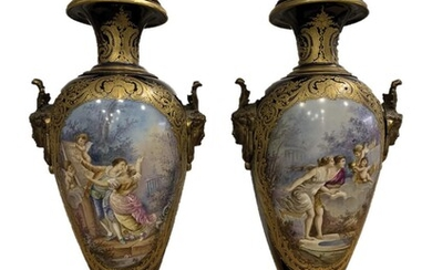A pair of Sèvres vases. France circa 1880