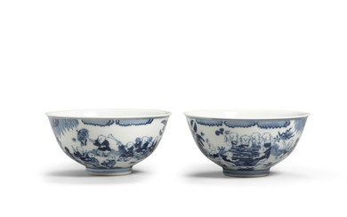 A pair of blue and white 'Boys' bowls
