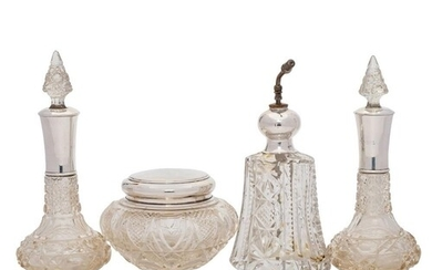 A pair of early 20th century clear cut glass and silver moun...